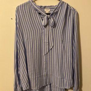 NWT - J Crew neck tie stripe blouse